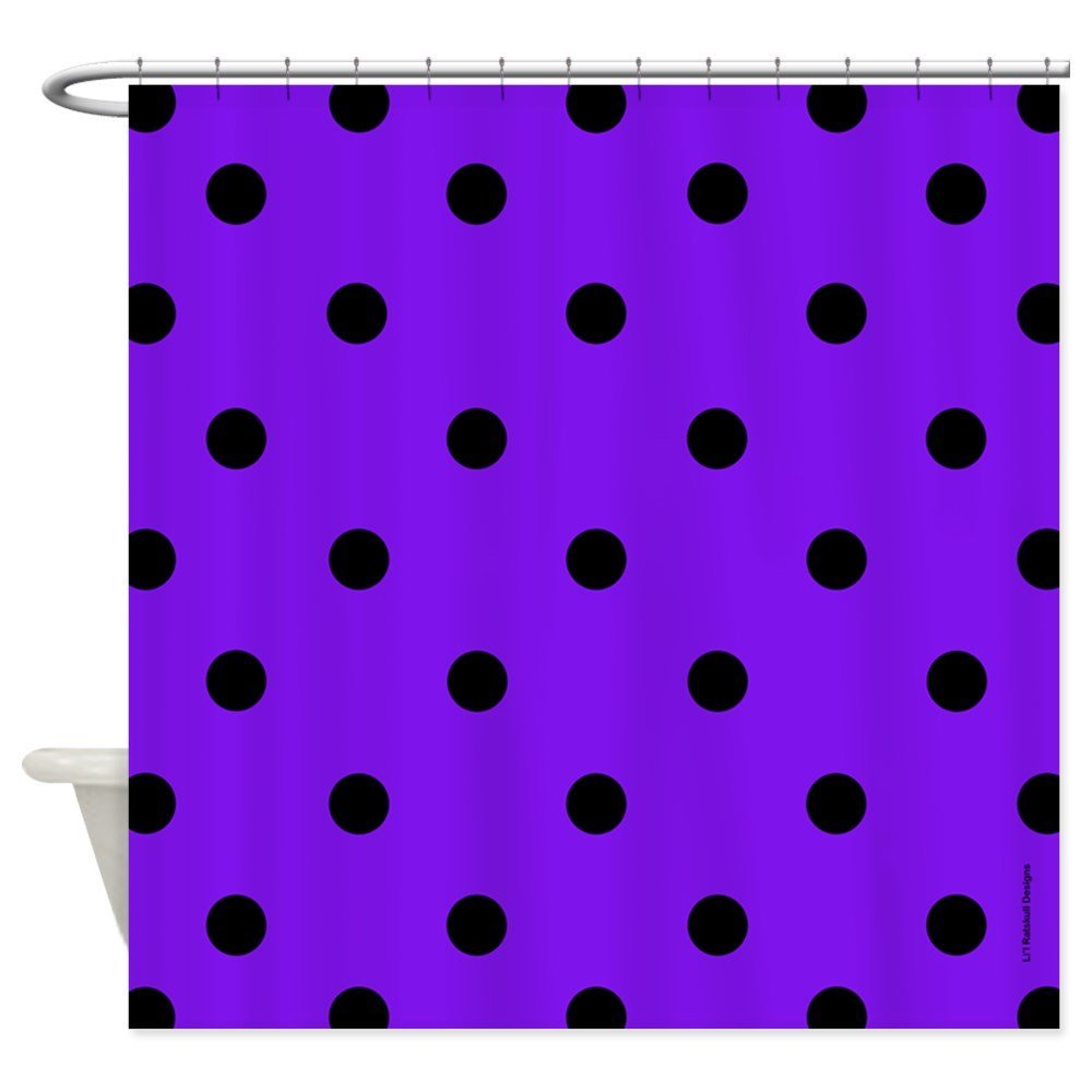 Purple And Black Polka Dot Shower Curtain Decorative Fabric For The Bathroom With 12 Hooks In Curtains From Home Garden On