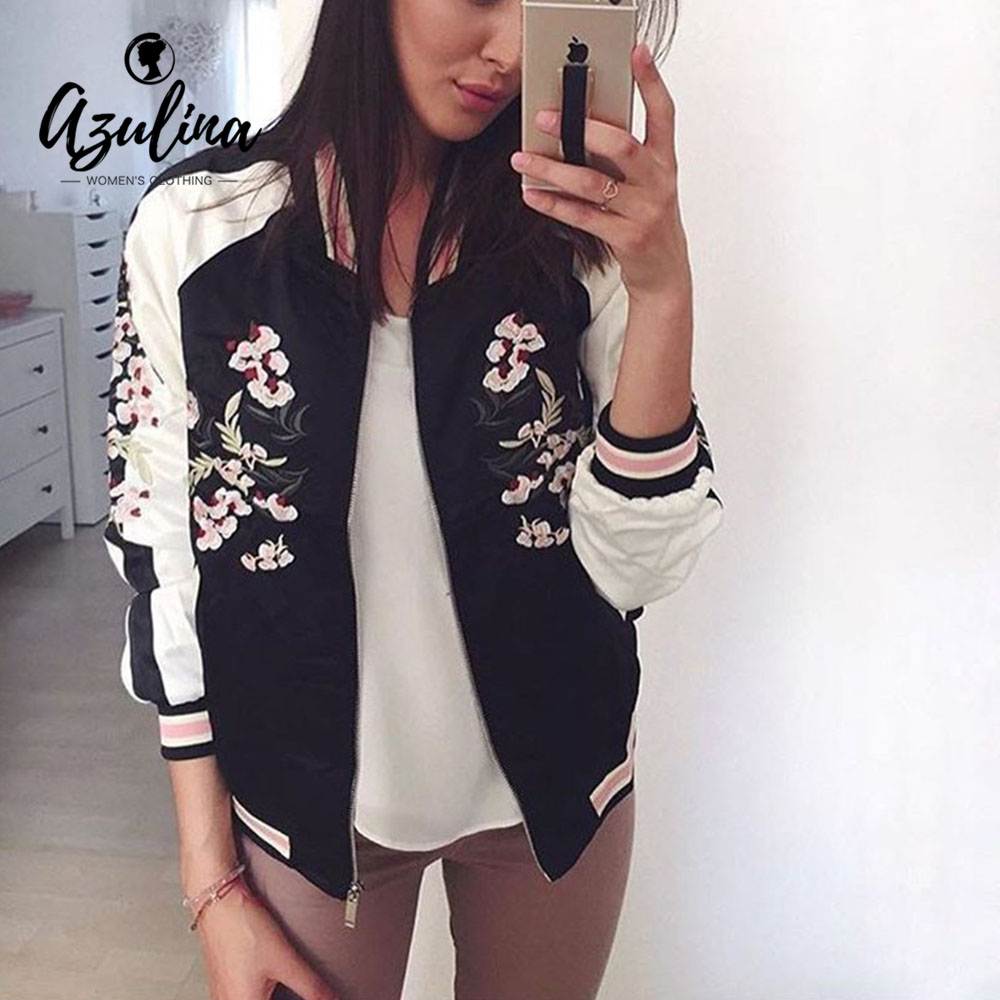 AZULINA Reversible   Jacket   Coat Floral Embroidered Bomber   Jacket   Women Autumn Flower Baseball   Basic     Jacket   Female Black Coat 2019