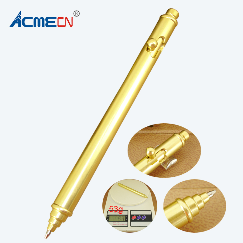 New Cool Design Hand-made Brass Gun Shaped Pen Propelling Slim 54g Heavy Ball Point Pens Cute Retro Gold Copper PensNew Cool Design Hand-made Brass Gun Shaped Pen Propelling Slim 54g Heavy Ball Point Pens Cute Retro Gold Copper Pens