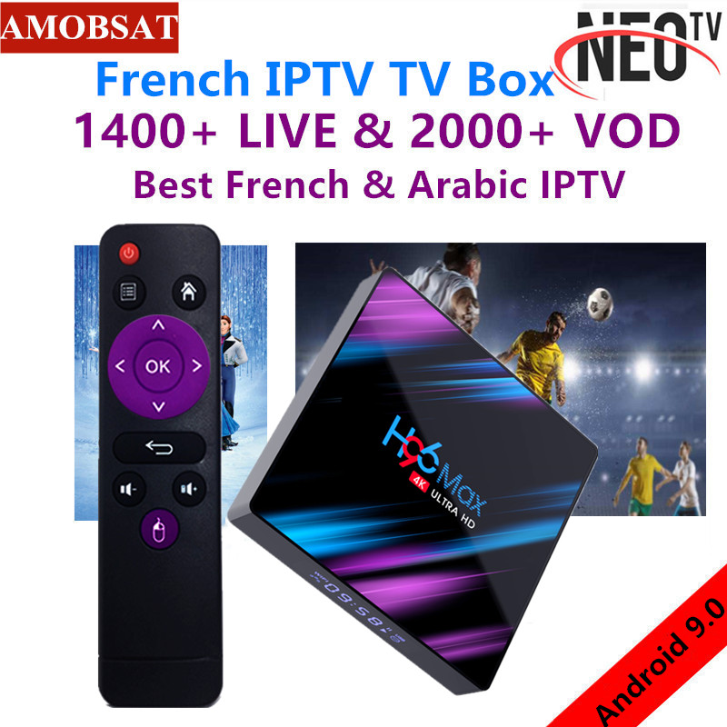 Android 9.0 TV Box H96 MAX+1 Year NEO Pro French IPTV Subscription 4G Ram 64GB Rom H.265 4K Smart TV Box BT4.0 Set Top Box