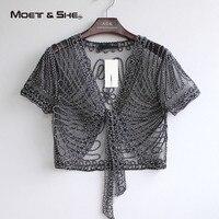 High Quality Summer Autumn Fashion Women Clothing Perspective Elegant Shawl Chiffon Lace V Neck Short Sleeve