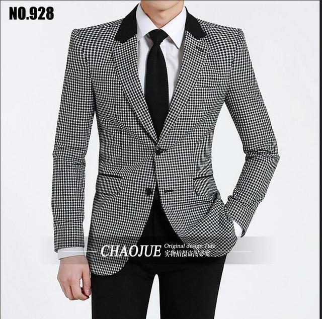 2016 hombres de moda delgado clásico caso chorlito redondo contraste chaqueta de traje de hombre chaqueta abrigo masculino ropa de abrigo! S-3XL