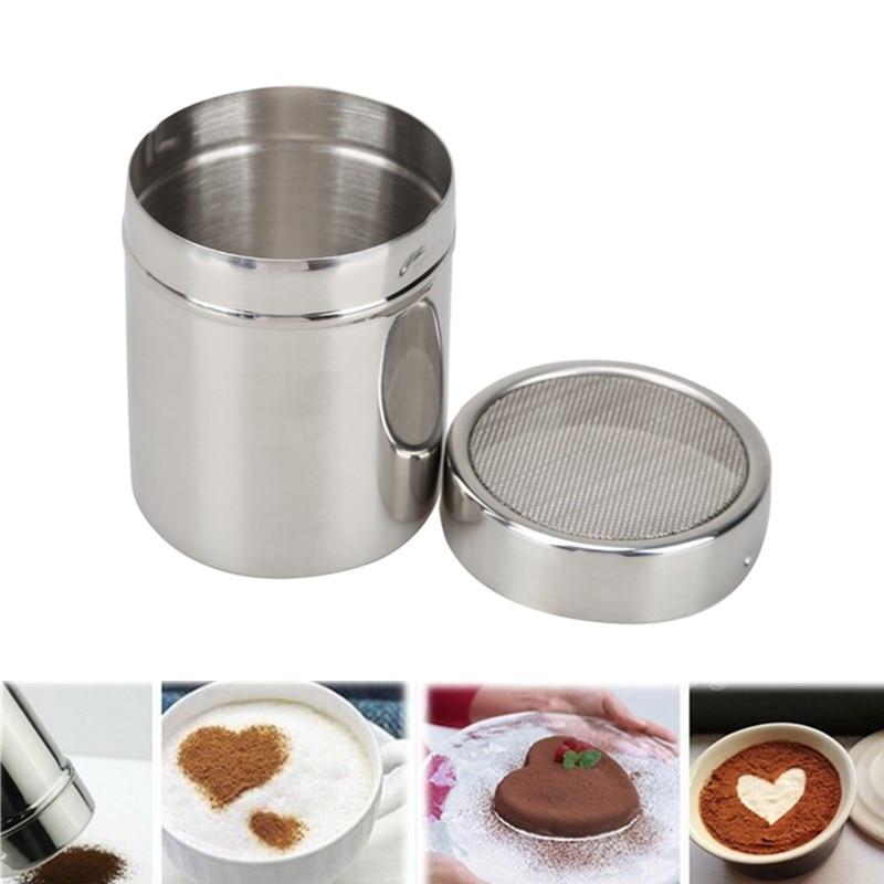 Acero inoxidable Harina de sal Sifter Icing Sugar Dredger Cocoa Chocolate en polvo coctelera Herramientas de decoración