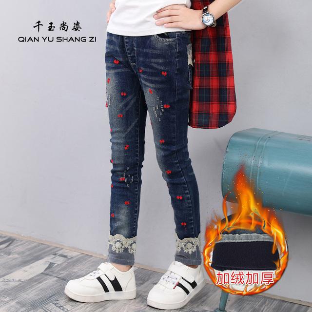 Calças de Brim meninas 3-14Years de Idade As Crianças Calças Demin Elástico Inverno Quente Engrossar Calças Jeans Crianças Encantador Dos Desenhos Animados Da Moda
