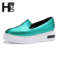 HEE GRAND 2017 Casual Loafers Patchwork Creepers Slip On Flats Platform Gold Shoes Woman Fashion Women