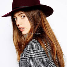 Vintage 100% Wool Women's Wine red Fedora hats Trilby felted Panama Ladies Cap Size 56-58CM