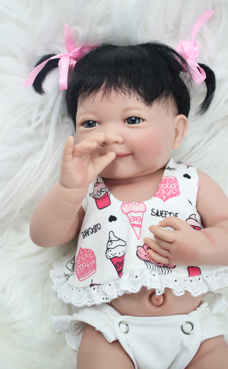 35cm Full Silicone Body Reborn Baby Doll Toys Lifelike 14inch Mini Vinyl Princess Smile Girl Babies Doll Birthday Gift Bathe Toy