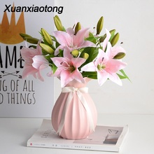 Xuanxiaotong 10pcs/set White Lily Flowers Bouquets for Wedding Centerpiece Home Decoration Artificial Bouquet