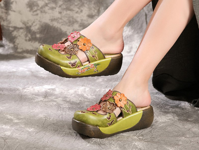 New sandals women s head cowhide folk style handmade leather cold slippers women s shoes Handmade