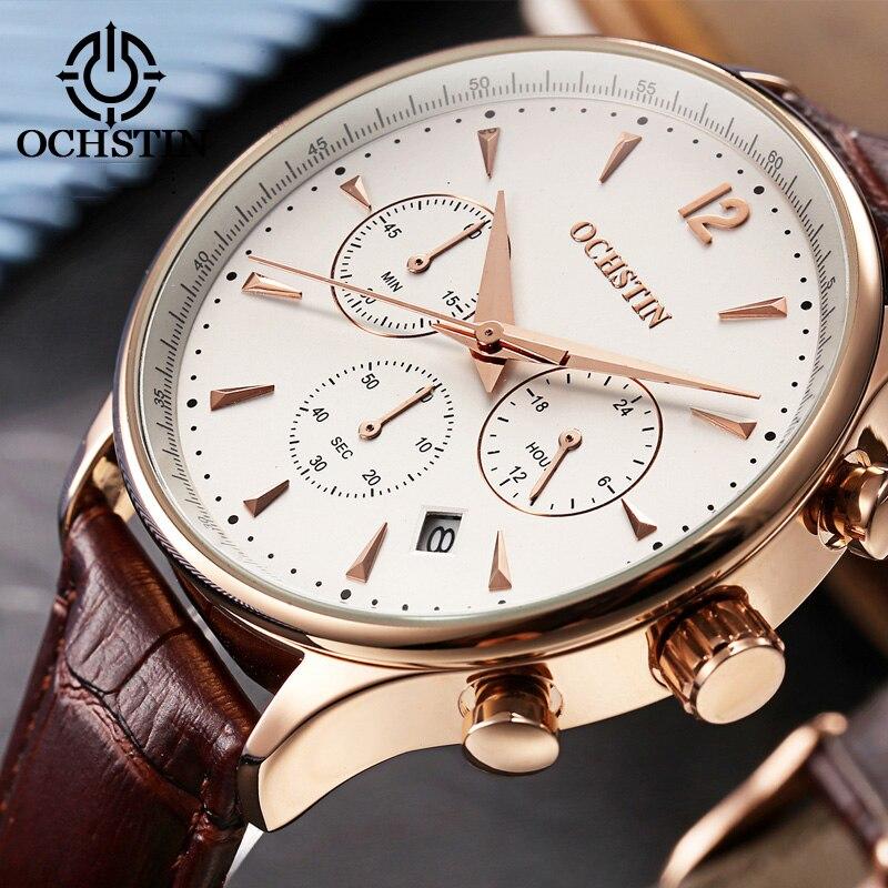 2017 Top Luxus Marke Ochstin Männer Sport Uhren Herren Quarz Datum Uhr Mann Leder Military Armbanduhr Männlichen Relogio Masculino