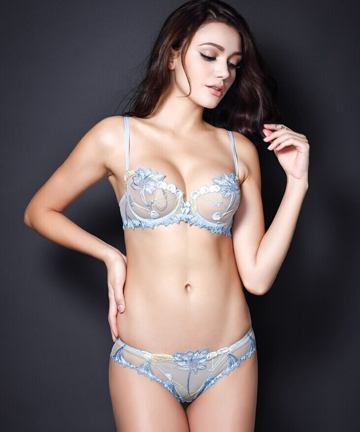 Free shipping Summer sexy transparent lingerie lace embroidery thin thin pink bra bra suit black 10