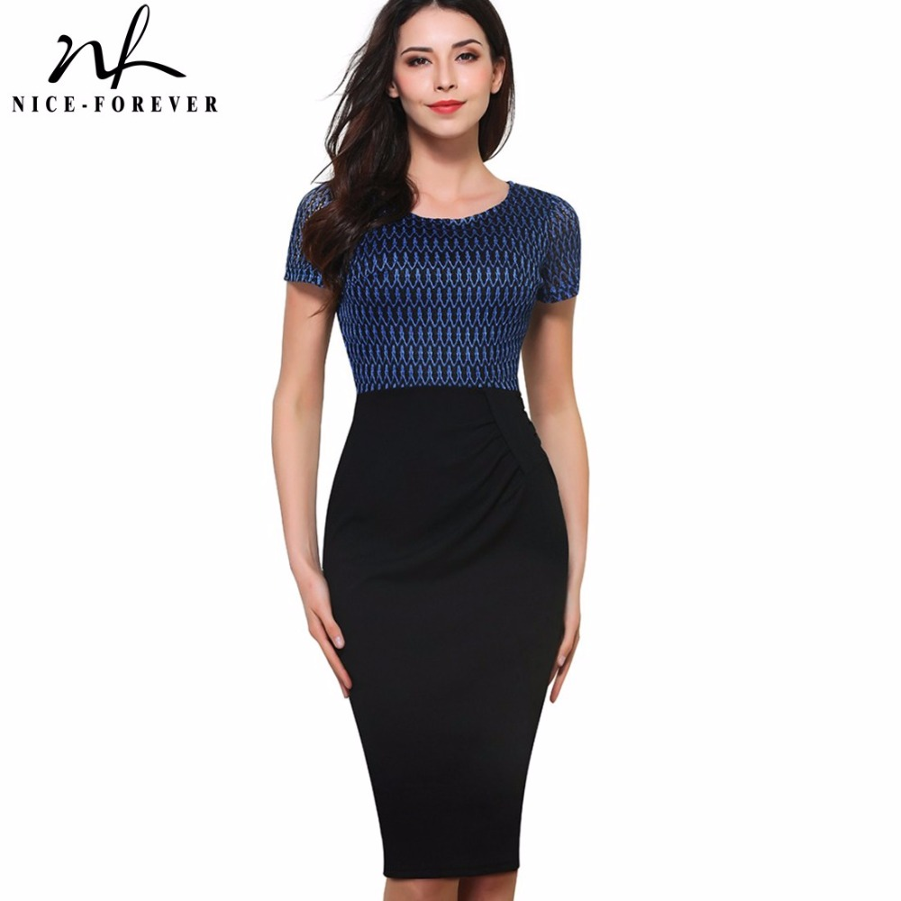 Nice Forever Summer New Vintage Net Mesh Patchwork Wear To Work Short Sleeve O Neck Bodycon