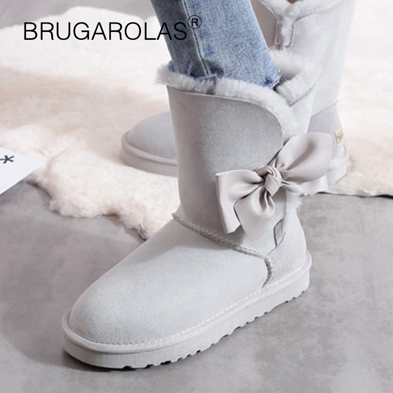 High Quality Genuine sheepskin Leather women Snow Boots Winter short plush butterfly-knot Boots Suede Fur Wool Lined Warm Shoes inoe suede high snow boots for women winter shoes sheepskin leather fur lined big girls tall wool thigh winter boots black brown