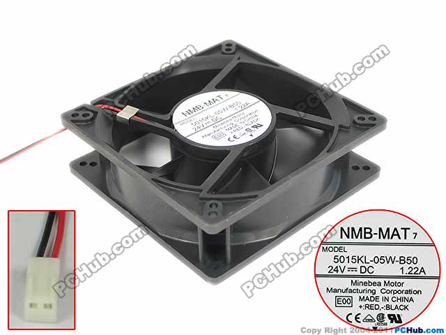 NMB-MAT 5015KL-05W-B50 E00 Server Square Cooling Fan DC 24V 1.22A 127x127x38mm 2-wire nmb mat 3110kl 04w b49 b02 b01 dc 12v 0 26a 3 wire server square fan
