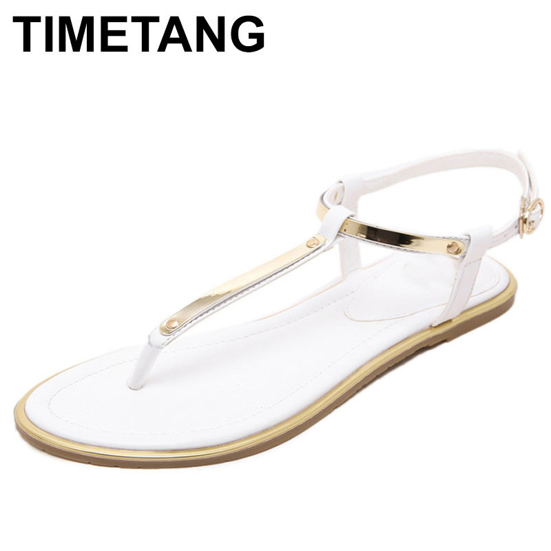 TIMETANG 2018 Women Summer Sandals Flip Flops Flat Heel Sandals Women Sequined Decoration Antiskid Ankle Strap Beach Shoes timetang flat sandals t strap fashion trend sandals bohemia national flat heel beaded female shoes sale women shoes