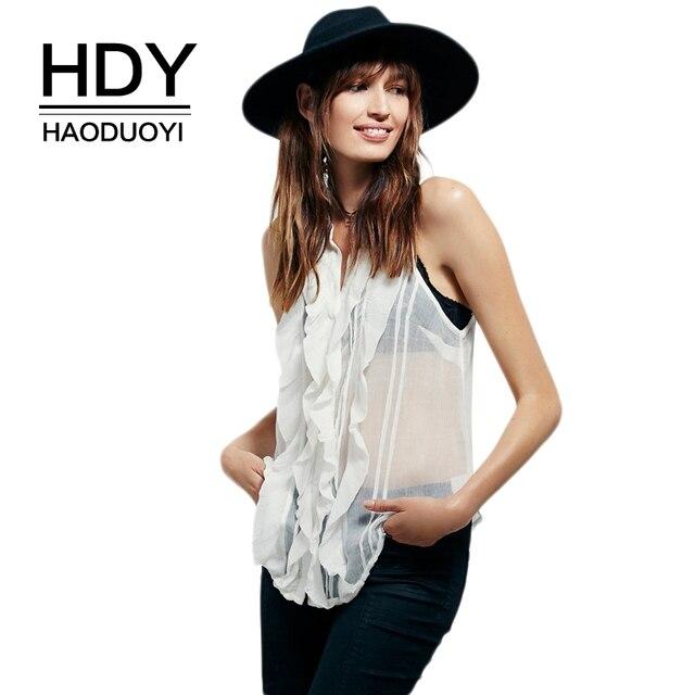 Hdy Haoduoyi Brand White Sheer Seam Ruffle Front Sleeveless Shirts O