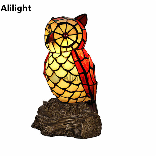 Personalized tiffany owl table lamp night light resin base stained personalized tiffany owl table lamp night light resin base stained glass shade table light decorative desk mozeypictures Choice Image