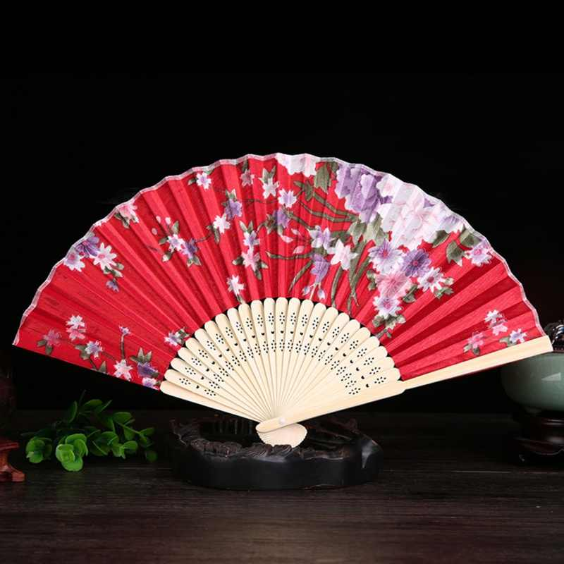 Vintage Bambu Kipas Lipat Elegan Bunga Tangan Kipas Lipat Tangan Dioperasikan Stiker Dekorasi Klasik Cina Hadiah Dekorasi Rumah