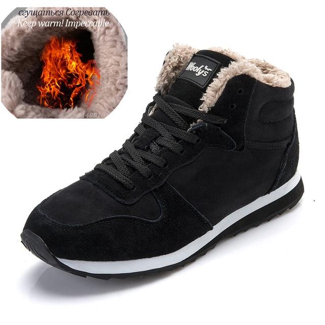 Men Boots Men Winter Shoes Plus Size 35-48 Warm Ankle Botas Hombre For Leather Winter Boots Shoes Men Plush Winter Sneakers Mens 3