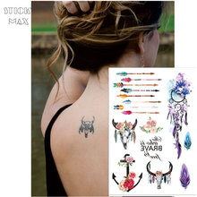 W12 1 Piece Flower Crown Boho Chic Cow Head Temporary Tattoo With Anchor, Colorful Arrow, Dream Catcher PatternTattoos