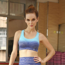 2016 Women Mid Impact Quick Dry Gradient Color Yoga Shirt Wireless Sports Padded Bra 15