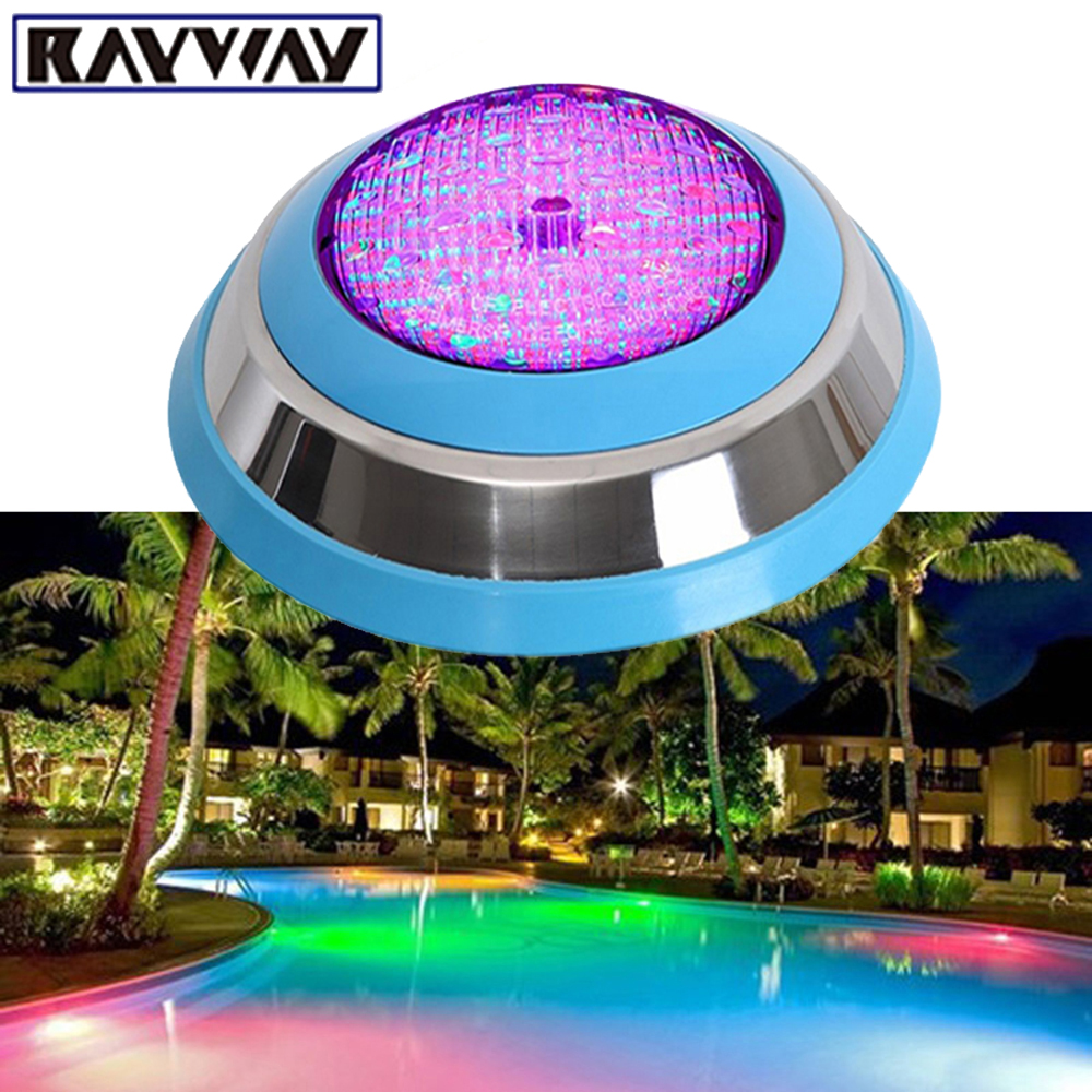 RAYWAY 2pcs Outdoor Underwater 54W RGB LED Swimming Pool Light Wall Mounted IP68 Pond Decorating Lamp AC/DC12V DHL Free Shipping 2 years warranty 18w ac12v led underwater wall mounted swimming pool light ip68 2 pcs free shipping high quality