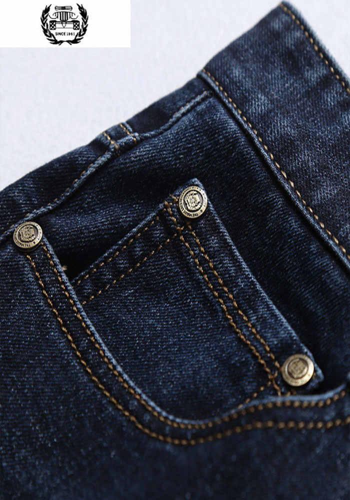 2018 Sonbahar Bahar Ince Denim Kot erkek pamuklu pantolonlar Askeri Mavi Ince Kot 30-42 Tam Boy Marka Erkek giyim Katı Renk