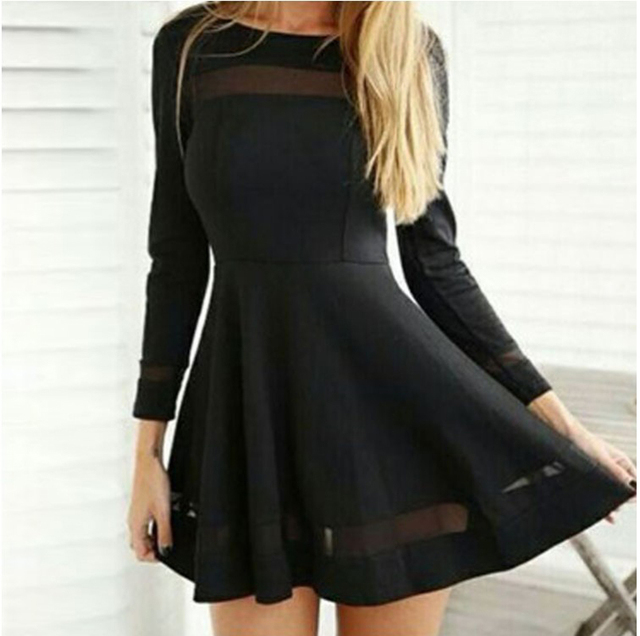 de91e12ae9e 2017 hot new design women s fashion sexy short black dresses girls casual  summer holiday beach soft dress long sleeve M XL  H372
