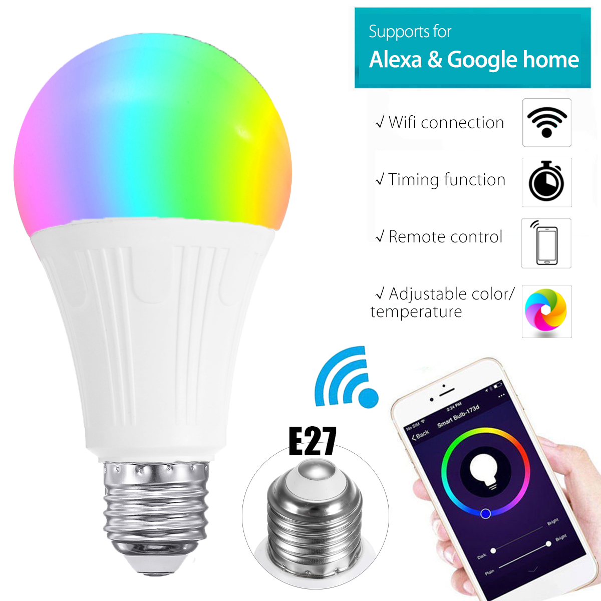 Smuxi Magic E27 Wireless WiFi APP RC Smart Bulb Lamp 7W Light Color Change Dimmable RGB For Echo Alexa Google Home Hotel small motherboard computer cases server 1 rtl8111dl onboard nic gigabit lan wake on lan or wifi network