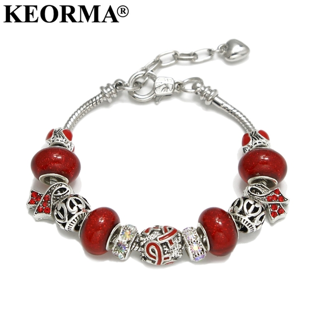 KEORMA Pink Ribbon Charm Bracelet & Bangle for Women European Murano Glass Bead Adjustable Heart Chain Bracelet Fashion Jewelry 1