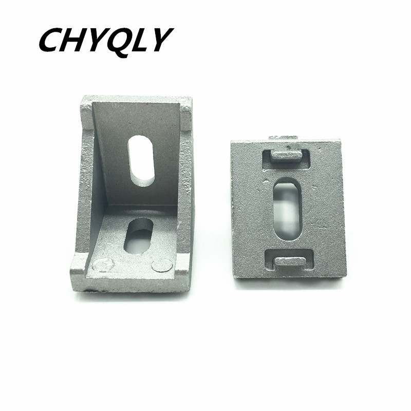 20pcs/lots <font><b>3030</b></font> corner fitting angle aluminum 35 x 35 L connector bracket fastener match use <font><b>3030</b></font> industrial aluminum profile image