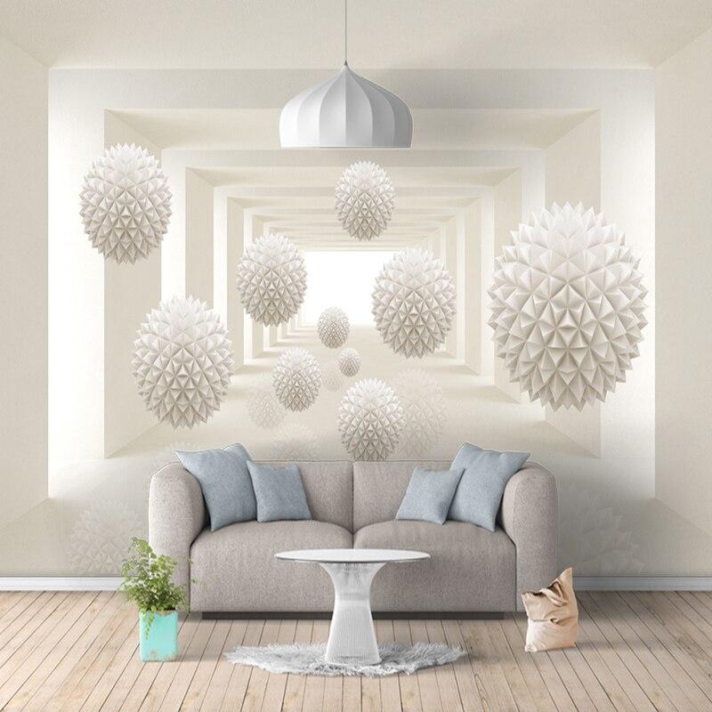 Modern simple 3d creative sphere space photo mural for Carta da parati moderna bianca e nera