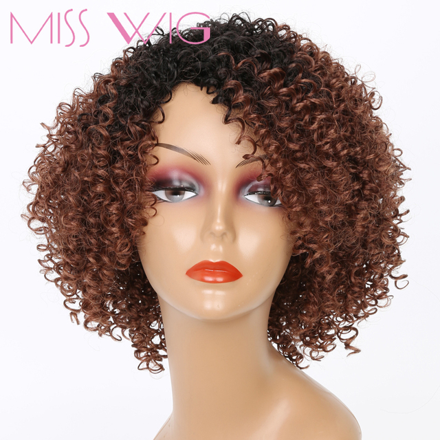 MISS WIG Black Ombre Brown Short Kinky Curly Wigs For Black Women Synthetic Afro Hair High Temperature Fiber African Hairstyle