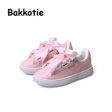 Bakkotie 2017 Nouveau Printemps Mode Bébé Chaussures Casual Blanc Fille Loisirs Sneaker Noir Kid Marque Respirant Rose Ruban de Soie Enfant