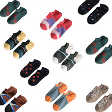 Spring summer 5 pairs/lot mens cotton socks geometric Letter arrow pattern diamond dot personality trend street low waist