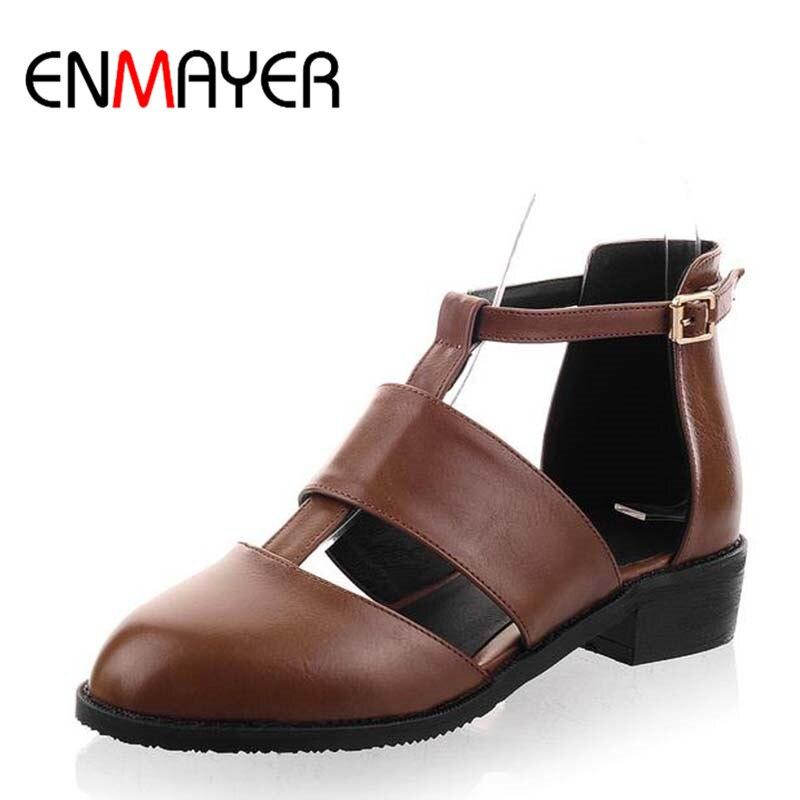 ENMAYER Black Hot Sexy Med Summer Sandals Women T Strap Square Heel Brand Design Less Platform