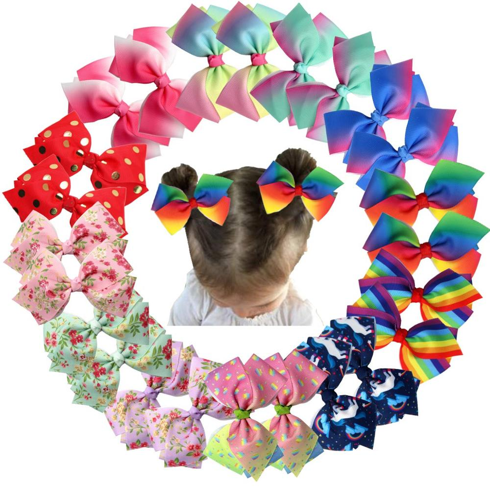 24Pcs 4.5 Inch Colorful Grosgrain Ribbon Bows With Alligator Hair Clips Pigtail Bows In Pairs For Baby Girsl Kids Children