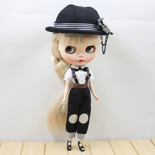 Neo Blythe Doll Overalls With Shirt Bow & Hat
