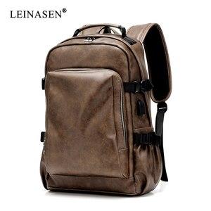 Image 3 - PU deri seyahat sırt çantası 14 inç dizüstü bilgisayar sırt çantası erkek büyük kapasiteli sırt çantası erkekler ve kadınlar için rahat çanta
