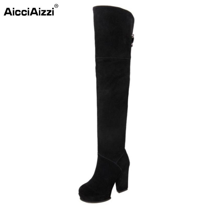 ФОТО Women Platform Over Knee Boots Woman Fashion Thick High Heel Botines Mujer Winter Zipper Heeled Footwear Shoes Size 34-39