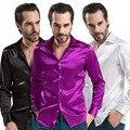 Случайные Рубашки Мода slim fit Рубашки Блестящие Шелковистые Атласные мужчины платье рубашки Роскошный Шелковый Мужская С Длинным Рукавом Чистый цвет 12 цвет S-4XL