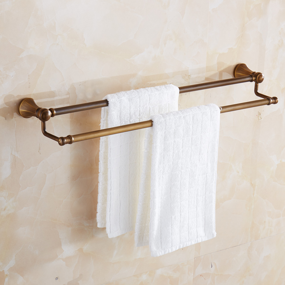 Antique Stainless Steel Double Towel Bar Luxury Golden Towel Rack Brass Towel Holder Bathroom Accessories aluminum wall mounted square antique brass bath towel rack active bathroom towel holder double towel shelf bathroom accessories