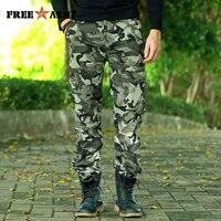 FREE ARMY 2017 Gray Camo Cargo Pants Military Style Men Camouflage Pants Fashion Trousers Streetwear Men