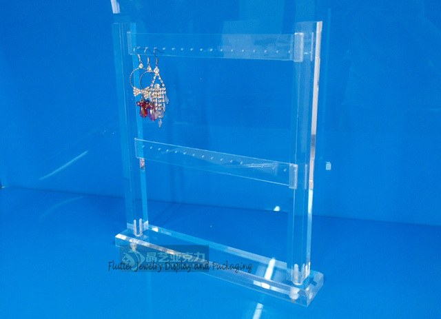 High Quality 2 Layers Clear Acrylic Earring Display Stand Vertical 32 Holes Holder Stud