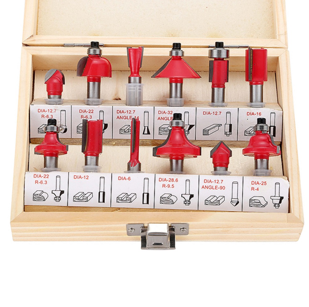 12Pcs Router Bit Set 5/16 8mm Shank Tungsten Carbide Rotary Tool Milling Cutter Woodworking Trimming Carving Professional Tools high grade carbide alloy 1 2 shank 2 1 4 dia bottom cleaning router bit woodworking milling cutter for mdf wood 55mm mayitr