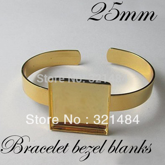 Bulk 100pcs Gold Plated Br Metal Cuff Bracelet Blanks W 25mm Square Caps Bezels Cameo Cabochon Setting In Jewelry Findings Components From