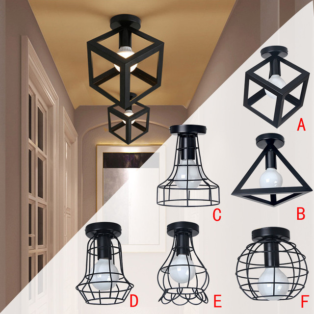 Industrial style retro ceiling lamp vintage iron black ceiling industrial style retro ceiling lamp vintage iron black ceiling lights cage wall scone light for hallway aloadofball Choice Image