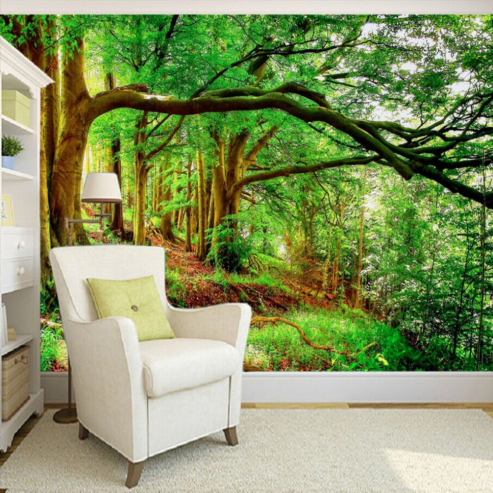 online get cheap green forest wallpaper 3d paper aliexpress com custom any size 3d wall mural wallpaper non woven green forest trees photo background photography