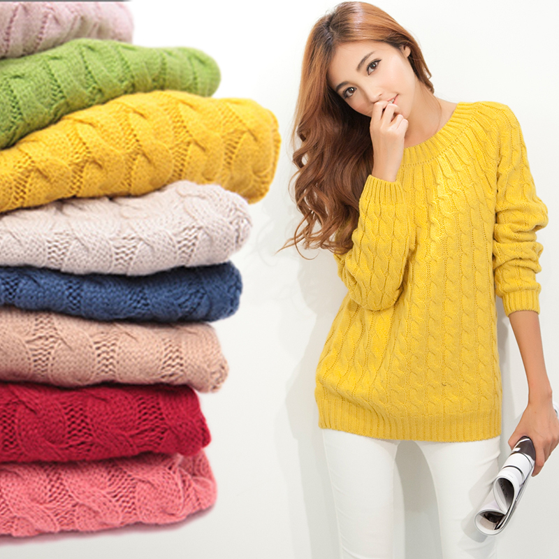 d037fe265 Fashion Women Sweater O Neck Long Warm Sweaters Candy Color 2014 Women s  Pullover Long Sleeve Knitted Wear Free Shipping