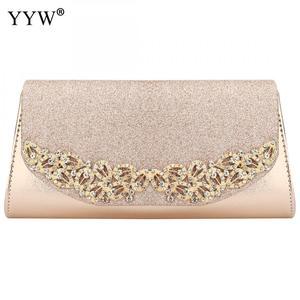 Image 2 - YYW Champagne Wedding Clutch Female Evening Gold Silver Wedding Bags Sac Main Femme With Luxury Florl Rhinestone Clutch Wedding
